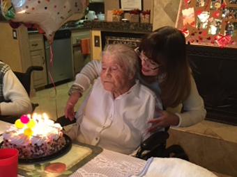 Birthday at Newport Heights Manor - Resident Margret.
