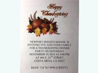 Thanksgiving dinner planned at Newport Heights Manor